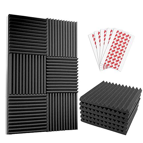 Komake 12 Platten Akustikschaumstoff Noppenschaumstoff,Platten Schalldämmung Akustikschaumstoff Schalldämmung für Tonstudio Schallabsorbierende Dämpfungswand Schaumpyramide (30x30x2.5cm) (12 Stück)
