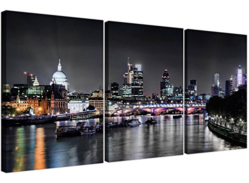 Cheap London Skyline Canvas Art - 3 Panel for your Living Room - Trendy Cityscape Canvas Pictures - 3211 - WallfillersÃ'® by Wallfillers