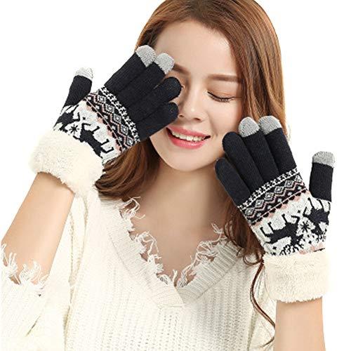 JsJr-K-In Guantes para tejer, extra cálidos, de forro polar, para pantallas táctiles, gruesos, para mujer, invierno, al aire libre