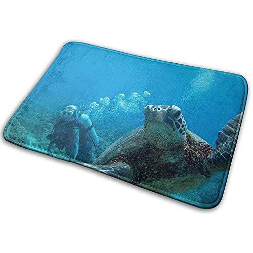 Felpudo,Buceo Jake Turtle Animal Alfombra De Baño Suave Y Duradera Alfombra De Baño para Ourdoor Camping Interior 40 * 60Cm