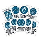 Pack 9 cartelli adesivi Covid 19 EXTENDED BLU Regole di sicurezza - Dimensione 13,5x20 cm - Kamiustore