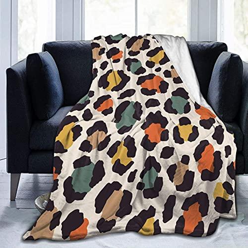 Manta de Felpa Suave Cama Estampado de Leopardo de Colores Manta Gruesa y Esponjosa Microfibra, Suave, Caliente, Transpirable para Hogar Sofá , Oficina, Viaje