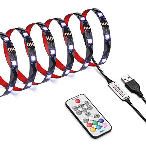 AMIR LED Streifen, 2.5M 75LEDs LED Strip 5050 RGB Lichterkette, LED Lichtband mit Fernbedienung, 18 Farbwechsel, 21 Modi, Fernseher Beleuchtung für TV-Bildschirm, Haus, Weihnachten, Party usw