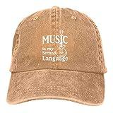 XCNGG Lightly Retro Music is My Second Language Guitarra Sombreros de Vaquero Unisex Sombrero de Mezclilla Deportivo Gorra de béisbol de Moda Negro