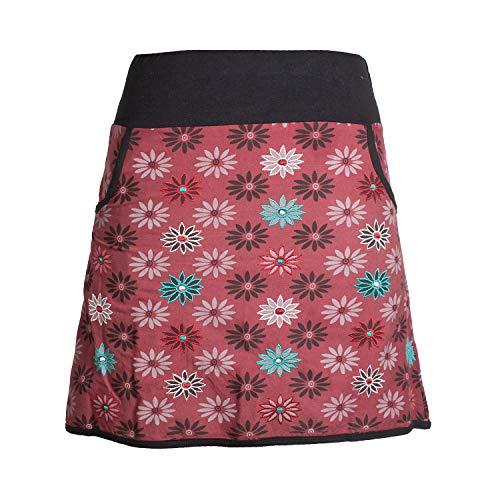Vishes - Alternative Bekleidung - Damen Baumwoll-Rock mit 70er Jahre Retro Blumen Bedruckt und Taschen dunkelrot 44