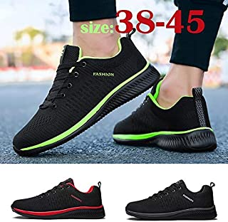 Men Fashion Air Mesh Breathable Comfortable Gym Fitness Casual Sports Shoes 3 Colors Zapatos de Hombre Chaussure Homme(Black & Green,43)
