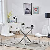 WENYU 3 Pieces Glass Dining Table Set, Round Kitchen Table with Clear Tempered Glass Top, Modern Dining Table and Chairs Set for 2 Person (Table + 2 White Chairs)