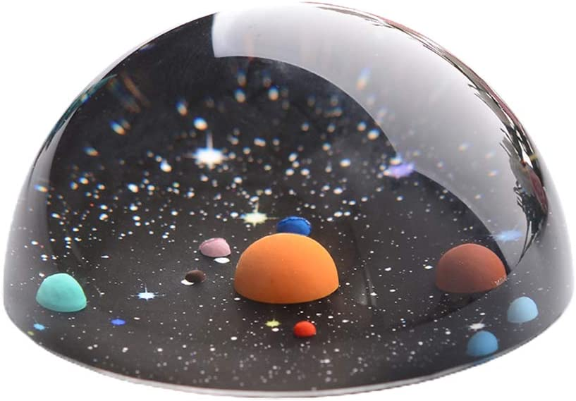 SHURROW Max 68% OFF Half Ball Solar System Memphis Mall Paperweight Crystal 3D Home