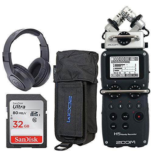Zoom H5 4-Input / 4-Track Portable Handy Recorder with Interchangeable X/Y Mic Capsule + Zoom PCH-5 Protective Case for H5 + Samson SR350 Over-Ear Stereo Headphones + 32GB 80MB/S Memory Card