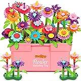 Fivejoy Jouets De Construction De Jardin De Fleurs pour Filles 134pcs, DIY Creatifs Et Ensembles De Bouquets De Bricolage avec Boîte Rose pour Enfants De 3 4 5 6 Ans Noël Anniversaire Cadeaux
