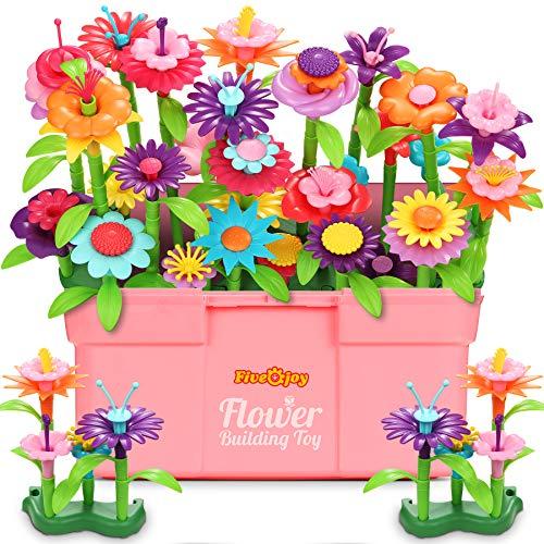 Fivejoy 134PCS Juguetes de Construcción para Jardín de Flores, Jardín Flores Playset Regalos, Juguetes de Construcción de Jardín Pretender Cumpleaños Regalos Juguetes para Niñas y Niños de 3-6 años