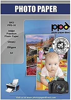 PPD Papel fotográfico para impresión de inyección de tinta con acabado muy brillante calidad Súper Premium A3 280 g/m² X 50 hojas PPD-16-50