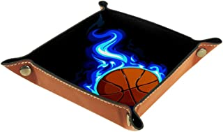 Basketball Fire Leather Folding Dice Rectangle Tray Holder Rolling Surface Table Games
