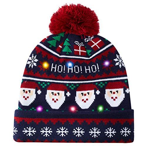 AIDEAONE Unisex Adulti Brutto LED Cappello a Cuffia di Natale novità Grafica Elegante Maglione...