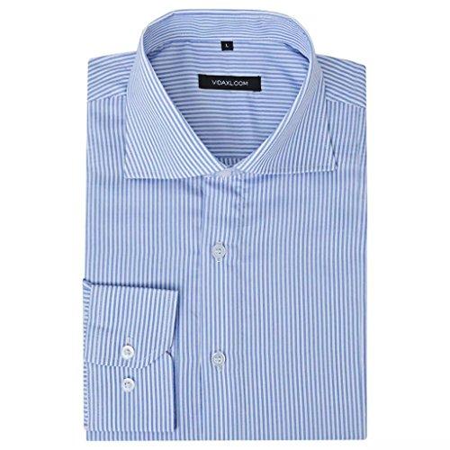 Geniet van winkelen met Zakelijk overhemd heren wit en blauw gestreept maat XL