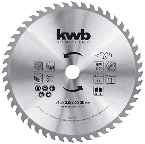 kwb 593159 Baukreissägeblatt 315 x 30, Sägeblatt für Tisch-Kreissägen, Wechselzahn f. mittlere Schnitte, Z-48 Zähne, 315 x 30 mm