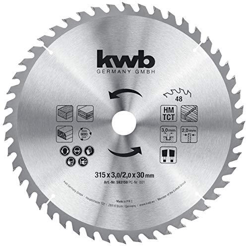 kwb 593159 Baukreissägeblatt 315 x 30, Sägeblatt für Tisch-Kreissägen, Wechselzahn f. mittlere Schnitte, Z-48 Zähne