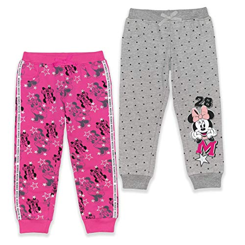 Disney Conjunto de pantalón de 2 piezas Minnie Mouse Jogger para niña, 3T, Rojo