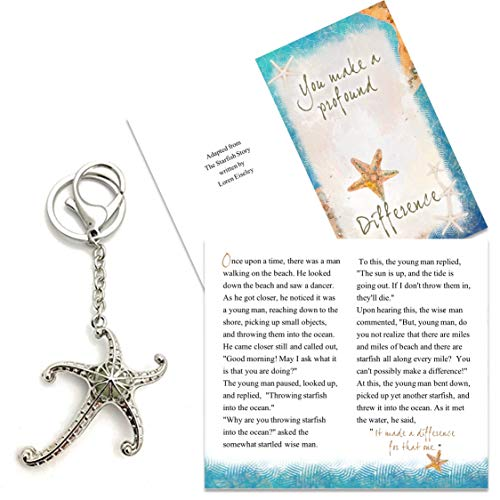 Smiling Wisdom - Glow in the Dark 3D Starfish Keychain Appreciation Gift Set - You Make a Profound Difference Greeting Card - For Her or Him - Mentor, Teacher, Volunteer, Nurse, Care Giver - Silver