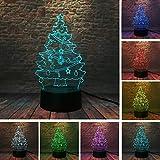 7 Farbe 3D Nachtlicht Warm Weihnachten Weihnachtsbaum Glocke Stern Bär Regenschirm 3D 7 Farbe...