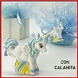 Ingrosso e Risparmio 12 Calamite in Resina Bianca e Celeste a Forma di Unicorno su Arcobaleno, bomboniere, pensierini Nascita, 1 Anno Maschietto (Senza confezionamento)