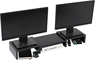 SUPERJARE Dual Monitor Stand Riser, Adjustable Length and Angle Multi Screen Stand, Desktop Stand Storage Organizer for La...