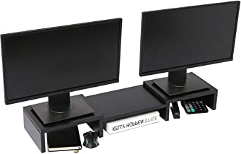 Superjare Dual Monitor Stand Riser, Adjustable Length and Angle Multi Screen Stand,..