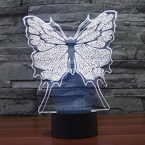 Lámpara de mesa decorativa USB LED con luz nocturna acrílica 3D y mariposa que cambia de color