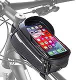 Velmia Fahrrad Rahmentasche [Wasserdicht] - Fahrrad Handyhalterung ideal fürs Navi - Fahrradtasche Rahmen mit/ohne Fingerabdrucksensor-Unterstützung für simples Entsperren während der...