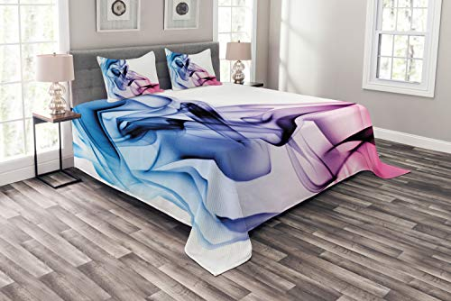 Ambesonne Abstract Bedspread, Abstract Artwork with Colorful Smoke Flow Swirl Contemporary Artwork,...
