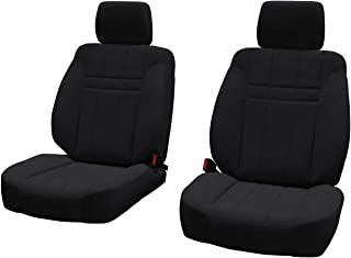 Front Seats: ShearComfort Custom Neoprene-Style Seat Covers for Toyota Tacoma (2016-2019) in Solid Black for Buckets w/Adjustable Headrests