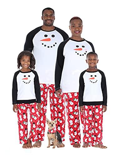 Our Family Pjs Matching Family Christmas Snowman Fleece Pajama Sets, Kids Pj Set-Snowman, 8 Years