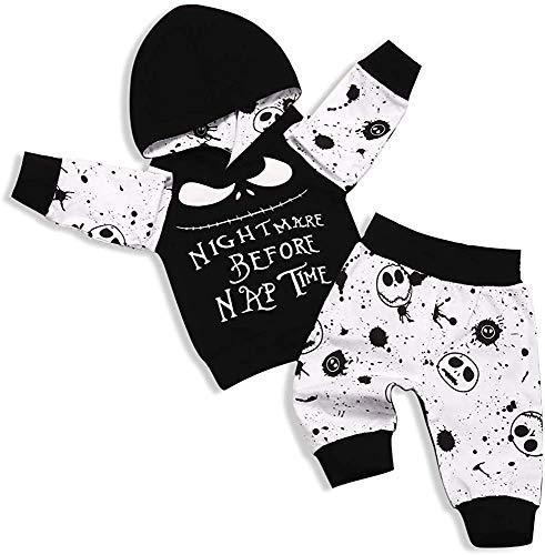 TUEMOS Conjunto de ropa de manga corta para bebé recién nacido, disfraz de Halloween, noche antes de la siesta, pantalones de calavera, 2 piezas