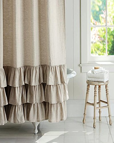 BU Natural Organic Linen Frilled bordered 72' square button holed Fabric shower curtain