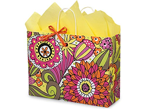 """Pack Of 25, Vogue 16 x 6 x 12.5"""" Floral Doodle Garden Recycled Shopping Bag Made In USA"""