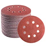 S SATC 72 PCS 5 Inch 8 Hole Hook and Loop Adhesive Sanding Discs Sandpaper for Random Orbital Sander 40 60 80 120 180...