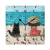 Reloj de pared ISAOA, cuadrado, silencioso, silencioso, para niña, gato, playa, verano, 2 silencioso, decoración artística para el comedor, sala de estar, dormitorio, oficina, escuela