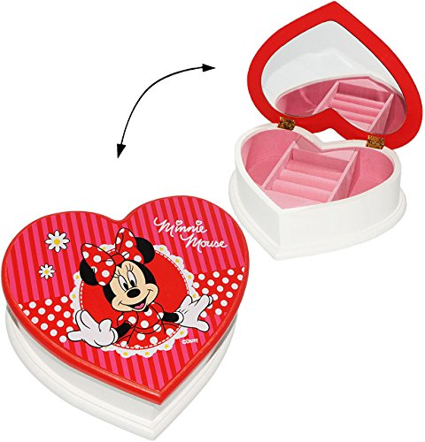 alles-meine.de GmbH Schmuckkasten aus Holz - Herzform -  Disney Minnie Mouse  - mit Spiegel - für Mädchen / Kinder - z.B. für Schmuck - Holzschatulle - Schmuckbox Schmuckkästch..