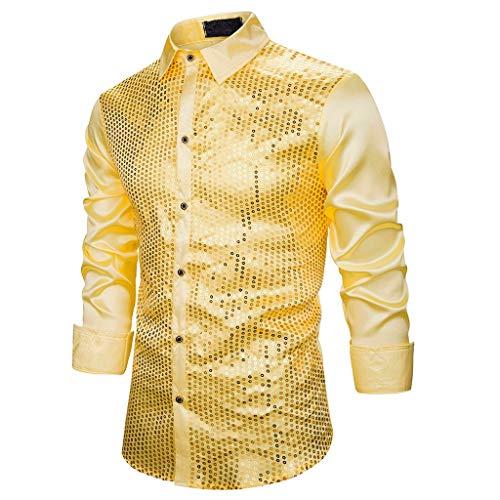 SETSAIL Herren Trend Slim Fit Turn-Down Kragen Langarm Top Bluse Shirt Freizeit Bequemes Tops Einfach Joker Oberteile Geeignet für zu Hause/büro/Party