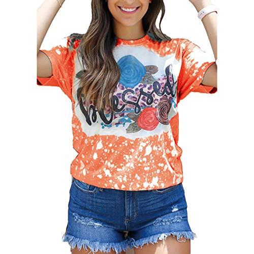 SLYZ Camiseta Holgada De Manga Corta con Cuello Redondo Informal con Estampado De Camiseta De Verano para Mujer