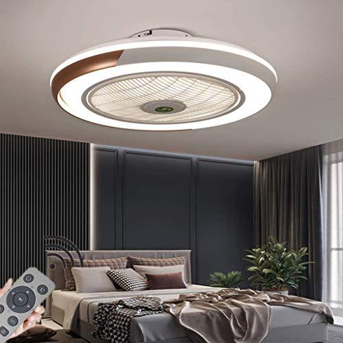 LED Deckenventilator Mit Lampe Moderne Invisible Fan Deckenleuchte Ultra-Leise Deckenventilator Mit Beleuchtung Esszimmer Schlafzimmer Wohnzimmer LED Dimmbar Deckenlampe Mit Fernbedienung Ø50CM,Gold
