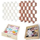 Honeycomb Drawer Divider(1/2 Set) sock Drawer Organiser - Tie & Belt Divider,underwear Storage,hexagonal Box Organiser Adjustable Drawer Organizer (White + pink)