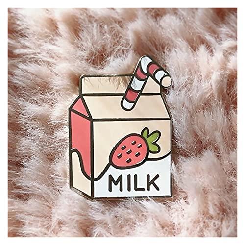 caja de regalo Kawaii Fresa Milk Pastel Hard Esmalte Pin Pin lindo Rosa Leche Caja de papel Insignia Accesorios Dibujos animados Bebida Broche Unique Niño Regalo caja de regalo ( Metal color : None )