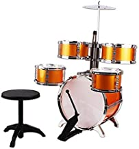 NiGHT LiONS TECH (TM Music Jazz Drum Rock Set Toy Big Band Drum with Cymbals Golden Dump 5 pcs Educational Toys Gift