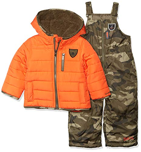 Skechers Boys' Little 2-Piece Heavyweight Snowsuit, Orange and Olive Camo Print, 4