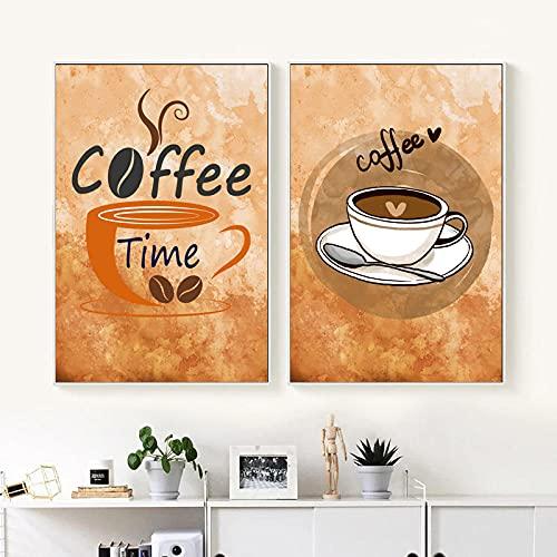 VVBGL Tazas de café Pinturas en Lienzo Poster e Impresiones Retro clásicos Cuadros artísticos de Pared para Salon de Estar Decoracion para el hogar Cuadros 40x60cmx3 Sin Marco