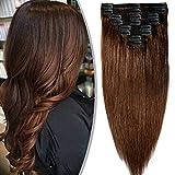 Extension a Clips Cheveux Humain Naturel Maxi Volume Tête Entière - Remy Human Hair Double Weft 8 Pcs Extensions (#04 Châtain, 35cm-120g)