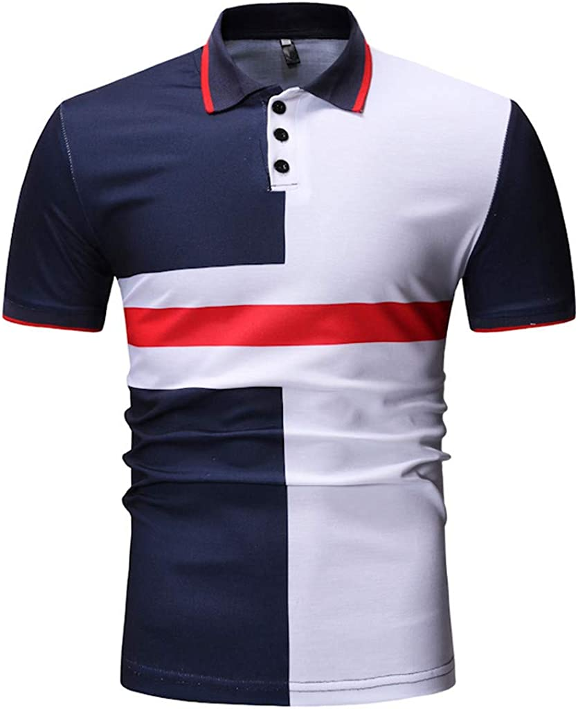 Polo Shirt for Men F/_Gotal Mens T-Shirts Fashion Summer Short Sleeve Stripe Patchwork Standard Fit Casual Blouse Tops