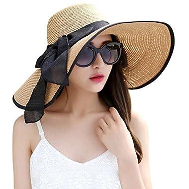 Lanzom Womens Big Bowknot Straw Hat Foldable Roll up Sun Hat Beach Cap UPF 50+ (Khaki) One Size