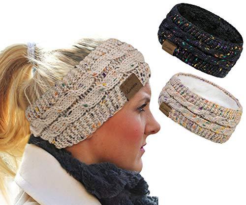 Loritta 2 Pack Headbands for Women Winter Warm Cable Knit Ear Warmer Thick Head Wrap Fuzzy Fleece Lined Gifts,Beige+Black